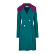 CASHWOOL DOUBLE COAT W/ FUR COLLAR LONG (TUAQUIOSE GREEN)