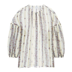 PUFF-SLEEVED STRIPED-FLOWER PRINT SILK BLOUSE (IVORY)