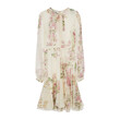 RUFFLED FLORAL SILK DRESS (IVORY)