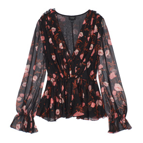 ★CELEB'S PICK★CHIFFON STAMPA PAPAVERI TOP (BLACK)