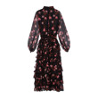 CHIFFON STAMPA PAPAVERI DRESS (BLACK)