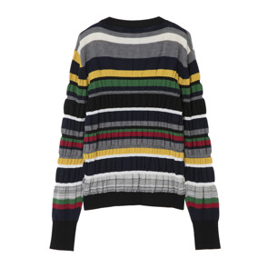 MULTI COLOUR STRIPE RUCHED JUMPER(NAVY)