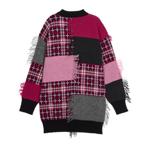 CELEB'S PICK★ PUNK FRINGED PATCHWORK WOOL KNIT (PINK)