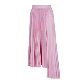 PLATED TECHNICAL BONDED CREPE DE CHINE SKIRT (LIGHT PINK)