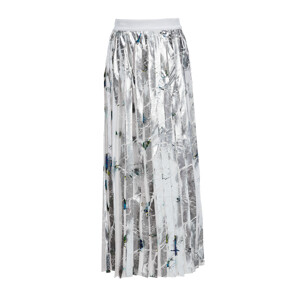 ROSEBUD PRINTED WASHED SATIN SKIRT (SILVER)