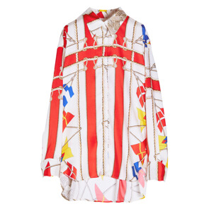 FLAGS FOULARD PRINTED BLOUSE(WHITE)