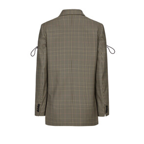 STRETCH TAILORING CHECK JACKET (BROWN)